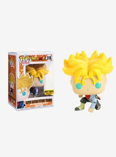 "Super Saiyan Future Trunks from  Dragon Ball Super  is given a fun, and funky, stylized look as an adorable collectible Pop! vinyl figure from Funko!   Hot Topic exclusive!   Pop! Animation 318  3 3/4"" tall  Vinyl  Imported  By Funko"