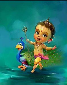 Shiva Art, Krishna Art, Hindu Art, Krishna Drawing, Lord Murugan Wallpapers, Lord Krishna Wallpapers, Baby Ganesha, Baby Krishna, Lord Ganesha Paintings