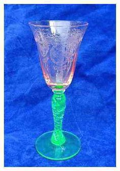 Tiffin Watermelon Pink Vaseline Green Basket Chain Etch Twisted Cordial Goblet |