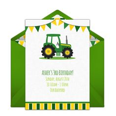 Free birthday party invitation with a tractor design. Love this design for a…