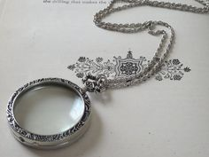 1 Silver Monocle Necklace Magnifying Pendant Hand Made by BuyDiy