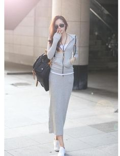 NEW Women MAXI LONG SWEAT SHIRT SKIRT casual comfy SIMPLE LINE 100 ...