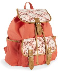 Floral Crochet Rucksack - Aeropostale                                     Back to School Tip: A Rucksack is always the way to go when you want a book bag that is cute but spacious. Way better than a backpack.