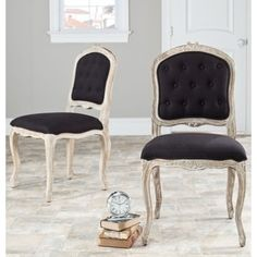 Safavieh Old World Dining Montreux Black/ Antiqued White Side Chairs (Set of 2) - Free Shipping Today - Overstock.com - 14017164 - Mobile