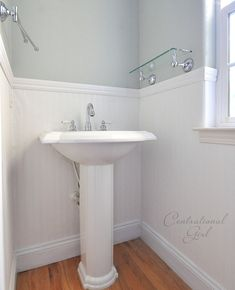I LOVE beadboard - can't believe you can create the look with a cheaper beadboard wallpaper.