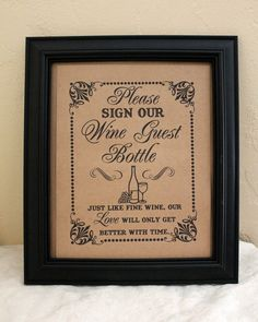 Sign Our Wine Guest Bottle - Guest Book- Wedding Sign - Single Sheet. $6.00, via Etsy.