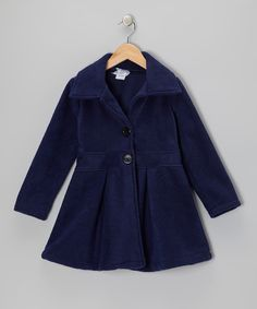 Take a look at this Navy Button Coat - Infant, Toddler & Girls on zulily today!