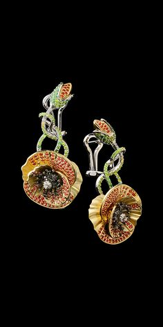 Master Exclusive Jewellery - Collection - Diamond Poppy flower earrings