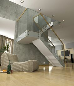 Glass and white staircase set against a concrete wall.