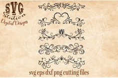 Ornamental Flourish Borders / SVG DXF PNG EPS Cutting File Silhouette Cricut By Svg Station