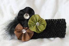 Rossette Ribbon Headband with feather Pick headband by fashionbaby, $11.99