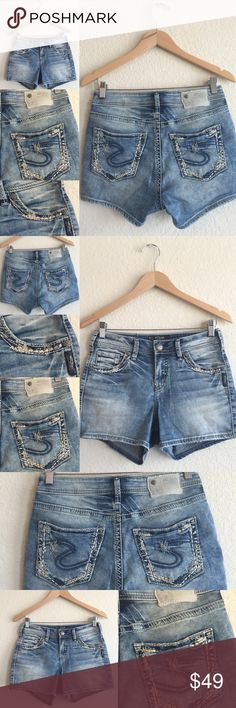💗 SILVER Jeans 💗 Suki Sz 27, Buckle Jean Shorts Excellent condition!!!  Beautiful jean shorts!  Original price is an estimation. LGBIN201516PC Silver Jeans Shorts Jean Shorts