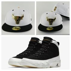 5d0eb761fb6a69 Matching New Era Chicago Bulls Gold Metal Fitted Hat Jordan 9 Black White  Los Angeles