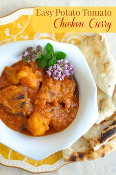Easy Tomato Potato Chicken Curry a simplified chicken curry recipe that& a complete meal in one pot. Try it with sweet potatoes for a delicious variation. Rock Recipes, Indian Food Recipes, Ethnic Recipes, Le Diner, Marinated Chicken, Curry Recipes, Chicken Curry, Soups And Stews, Chicken Recipes