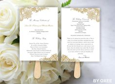 Printable Wedding ceremony fan program template Vintage by Oxee, $5.00