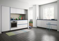 A new look for your kitchen with blue profiles, contrasting beautifully with the classic white doors.Kvik's Tinta doors are available in black or white, with scratch-resistant foil in ten different colours for the associated aluminium profiles, so you have plenty of scope for determining the style of your own kitchen. Danish Design, Classic White, Kitchen Cabinets, Colours, Interior Design, House, Home Decor, White Doors, Interiors