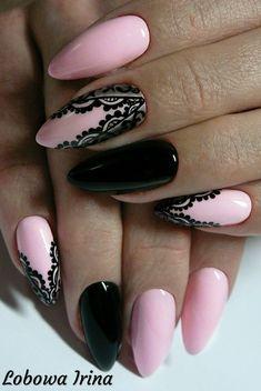 Irina Łobowa Almond Nails Designs, Nail Designs, Mani Pedi, Manicure, Crazy Nails, Elegant Nails, Nail Tips, Pink Color, Eye Makeup