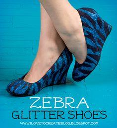 iLoveToCreate Blog: DIY Zebra Glitter Shoes