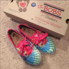 New in box Tie-die Sketchers Bobs Toddler size 10 Brand New Tiedie Sketchers Bobs toddler shoes. Slight shimmer to the Tie-die pattern. Super precious in person. Bob Shoes, Toddler Shoes, Sketchers, Keds, Memory Foam, Cushion, Size 10, Brand New, Sneakers