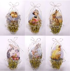 Vintage Style Wire Easter Basket Ornament Set of 6