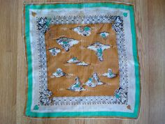 Vintage 1940s Silk Scarf Pocket Square Cupid Hearts by bycinbyhand, $20.00