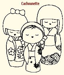 Poupées KOKESHIS - cute embroidery pattern. Would be fun to make a cross stitch design, what do you think everyone?