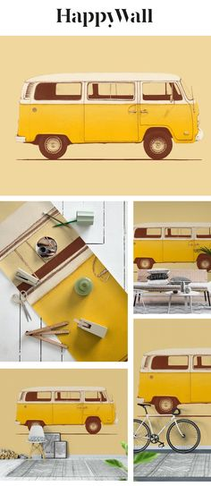 Yellow Van wall mural from Happywall #old #microbus #wallmural #camion #surfing #van #wallmurals #wallpaper #love #wallpapers #surf #truck #voiture #vintage #travel #bus #sun #trip #car #graphicdesign #happywall #illustration #combi