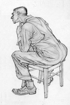 This drawing by Al Dorne appears in the Famous Artists Course, accompanied by th. Guy Drawing, Life Drawing, Drawing Sketches, Drawings, Sketching, Magazine Illustration, Illustration Art, Character Art, Character Design