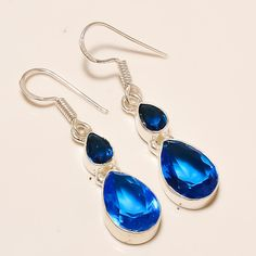 Daily Deals Tanzanite Quartz Gemstone Earrings 925 Silver Designer Jewelry  #Handmade #DropDangle