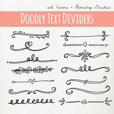 Doodly Text Divider Clip Art // ABR Photoshop Brushes // Hand Drawn Vintage…