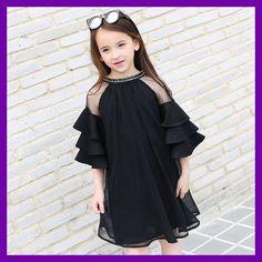 2017 Summer Girls Chiffon Dress Black Transparent Teens Big Baby Girls Cute Ruffle Sleeves for Age 5678910 11 12 13 14 Years old