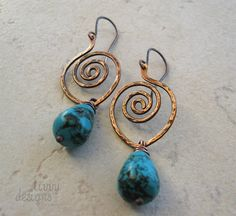 Wire wrapped copper earrings with Turquoise drops.