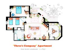 ".  This is the apartment of Jack Tripper, Janet Wood and Chrissy Snow from the show ""Three's Company"".   .  This is a hand drawed plan, in scale, coloured with colour pencils and with full details of furniture, fabric, timbers and complements...   The design is made according with the ""real"" apartment respecting the spaces, proportions, furniture and objets presents in the studio set.  ."