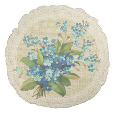 Blue forget me not & lace floral vintage pillow round pillow