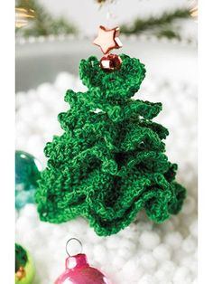 Little Christmas Tree Ornament Crochet Pattern Crochet Tree, Crochet Christmas Ornaments, Christmas Crochet Patterns, Holiday Crochet, Crochet Flowers, Christmas Crafts, Crochet Snowman, Christmas Items, Free Crochet