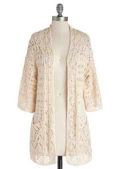 Breezy Beach Cardigan. When most think of the beach, they imagine sun and sand. #cream #modcloth