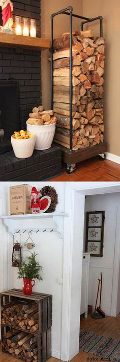 Woodworking Ideas 15 firewood storage and creative firewood rack ideas for indoors and outdoors. Lots of great building tutorials and DIY-friendly inspirations! - 15 firewood storage and attractive firewood rack ideas for indoors Woodworking Projects Diy, Diy Wood Projects, Woodworking Plans, Woodworking Equipment, Learn Woodworking, Woodworking Furniture, Firewood Shed, Firewood Storage, Indoor Firewood Rack