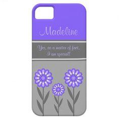 iPhone5 Girly Purple and Gray Flowers Monogram