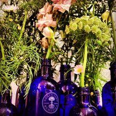 Our Blue Bottles make great vases! #bluebottles #nealsyardremedies #nealsyard #organic #naturalbeauty