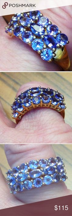 GENUINE 3.5 ct Tanzanite 14kt ygold /.925 Ring  7 Brand New! TAG ON! Size 7 -Genuine mines Tanzanian Tanzanite -3 line pave set luxury ring- 3.48 tcw! (12 fancy faceted rounds & 5 fancy faceted Ovals) 🎀🎀 MSRP: $419.99 the  .925 Sterling Silver Setting ! ( fine nickel free silver) w/ heavy 14kt yellow gold plate. These are awesome deep blue violet glimmering stones - not cheap light ones - 🎁 Plus a FREE BRAND NEW thank you mystery gift 🎁 💕💕#tanzanire #genuine, #gemstone, #ring, #14kt…