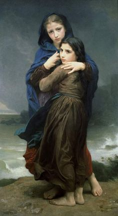 L'orage - William Adolphe Bouguereau (1825 – 1905, French)