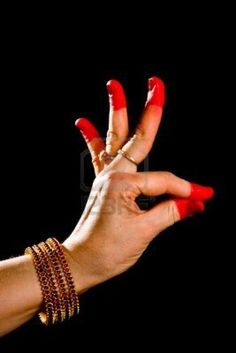 """Woman hand showing Hamsasyo hasta (hand gesture, also called mudra) (meaning """"Swan beak"""") of indian classic dance Bharata Natyam. Also used in other indian classical dances Kuchipudi and Odissi."""
