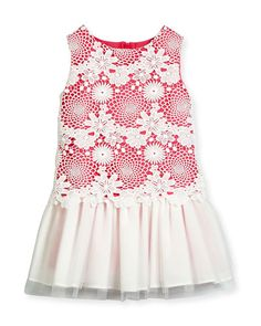 K0MZG Charabia Nelly Sleeveless Lace & Tulle Shift Dress, Pink, Size 10-12
