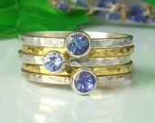 Natural blue tanzanite, Sterling Silver 935, Purple,Handmade,Stacking Rings, 24kt Gold, Vermeil