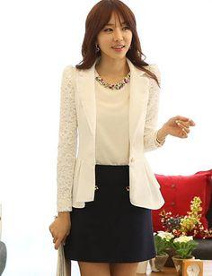 Korean Style Lace Sleeve Polo Collar Blazer For Women