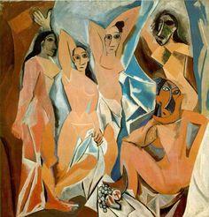 """Obra """"Mulheres de Avignon"""", de Pablo Picasso, representa uma obra Cubista."""