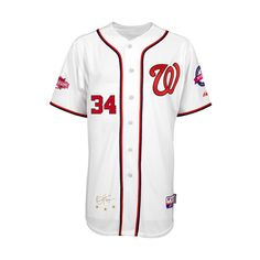 Washington Nationals Authentic Bryce Harper Home Jersey w/2015... ($300) ❤ liked on Polyvore