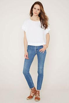 00f96526652ff4 Contemporary Ruffled Sleeve Boxy Top Leggings