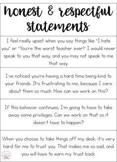 Honest and Respectful Statements