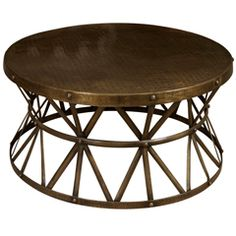 A round metal coffee table